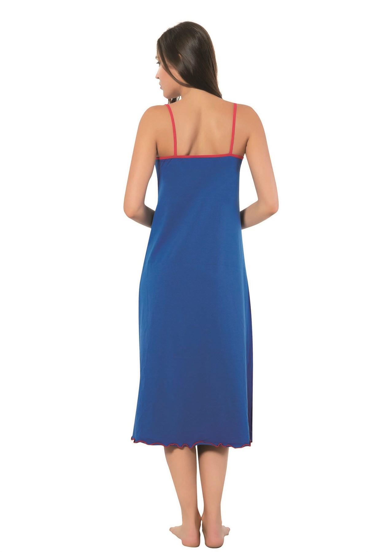 Moda Çizgi Bayan İp Askılı Uzun Gecelik 905