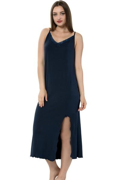 Moda Çizgi - Moda Çizgi Bayan İp Askılı Uzun Gecelik 911