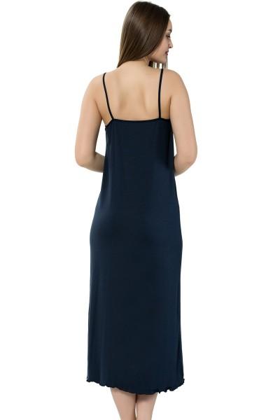Moda Çizgi Bayan İp Askılı Uzun Gecelik 911 - Thumbnail