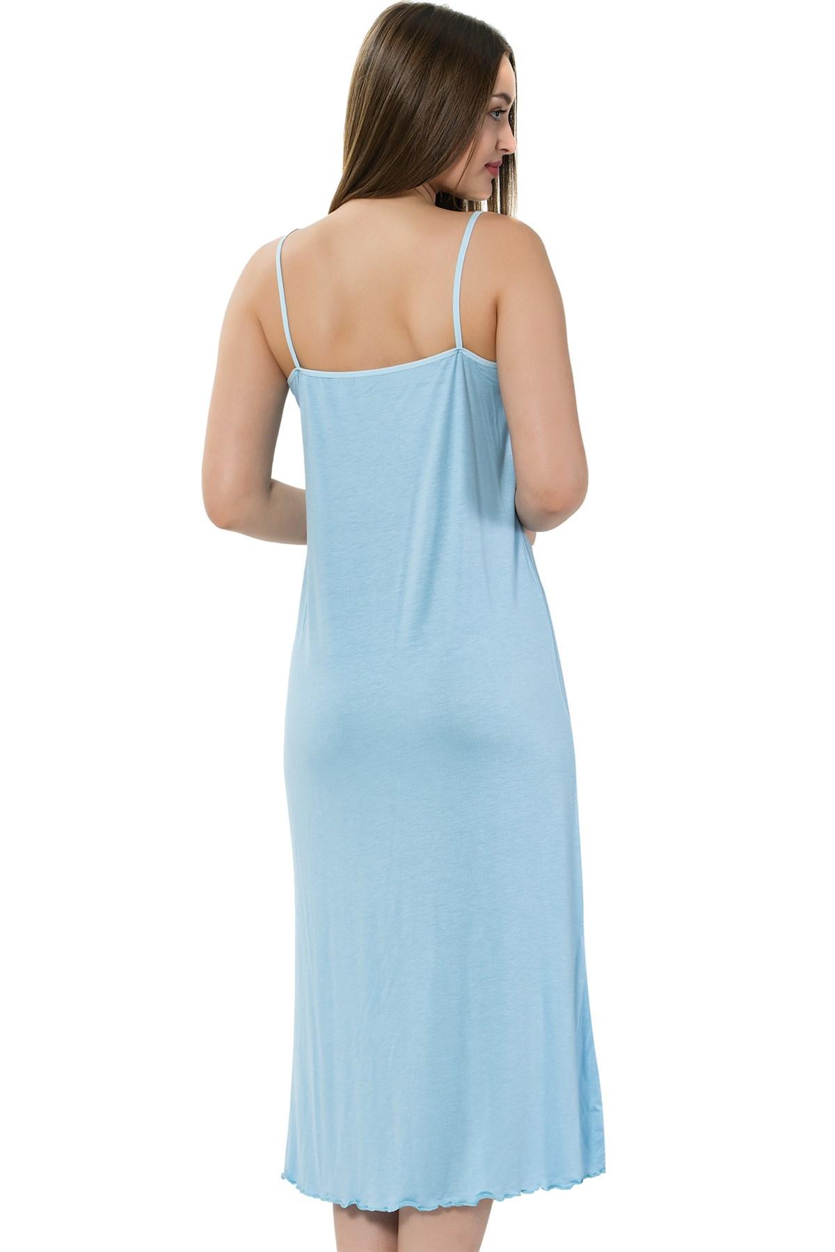 Moda Çizgi Bayan İp Askılı Uzun Gecelik 914