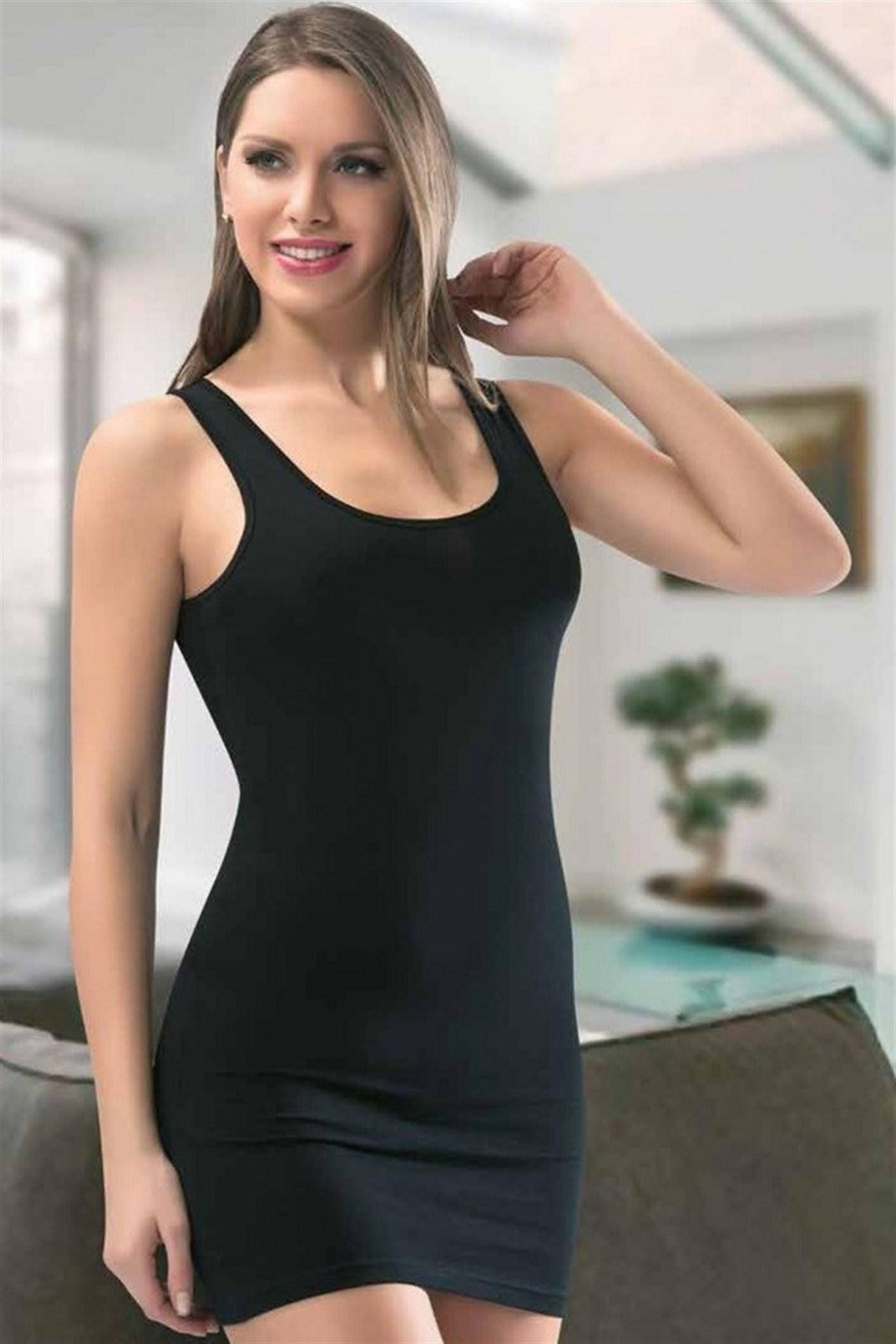 Moda Çizgi Bayan Kalın Askılı Tunik Body 111