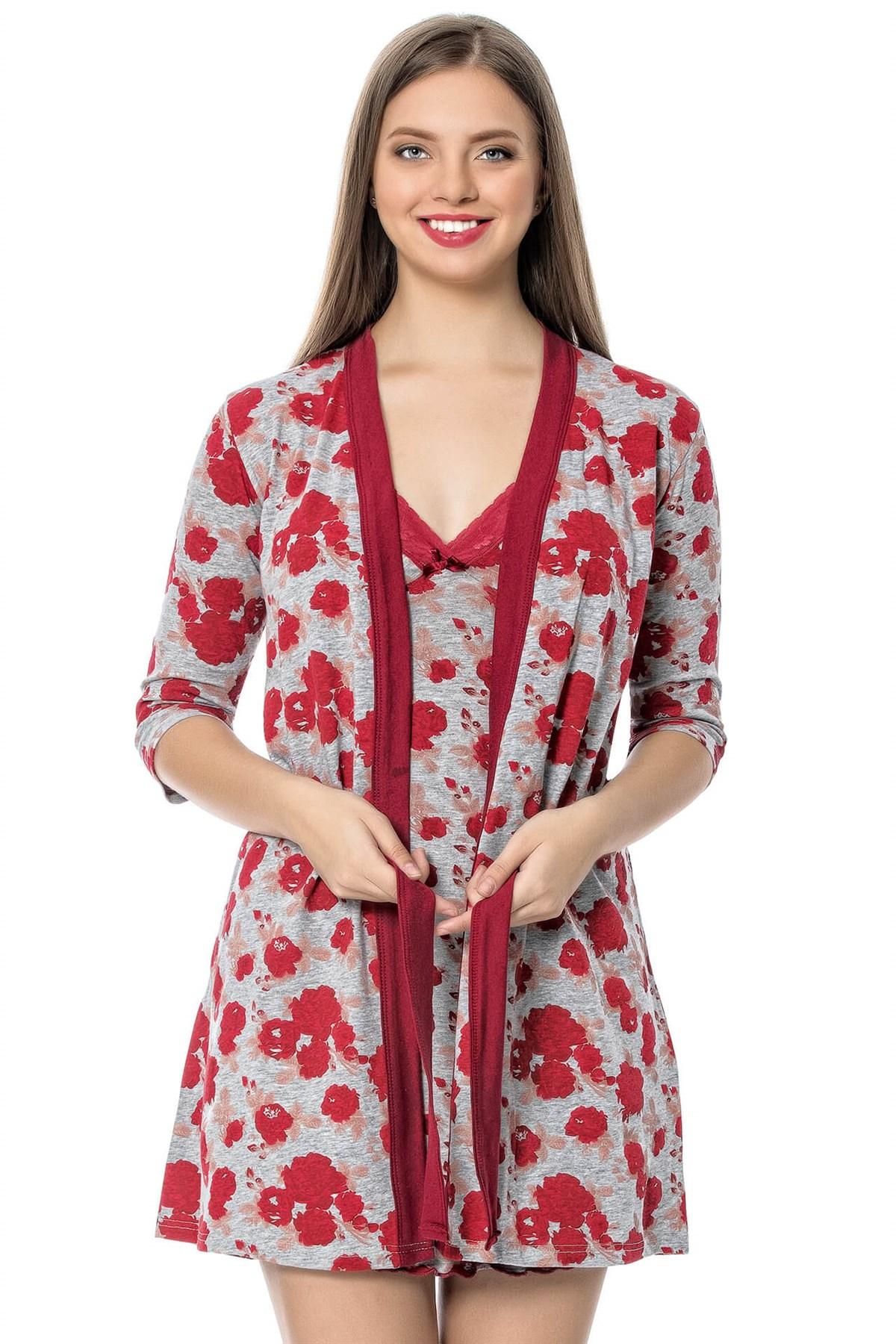 Moda Çizgi Bayan Kırmızı Gül Desenli Gecelik Sabahlık Takım 1103