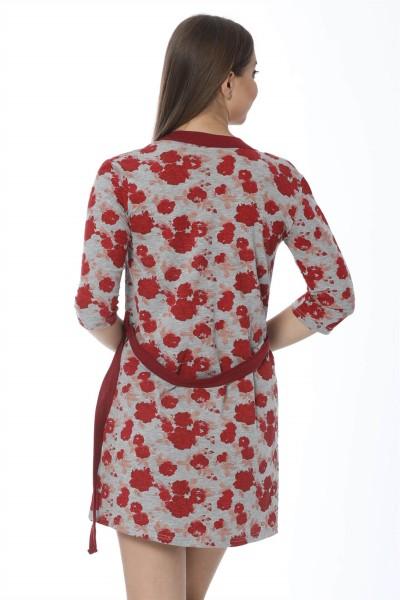 Moda Çizgi Bayan Kırmızı Gül Desenli Gecelik Sabahlık Takım 1103 - Thumbnail