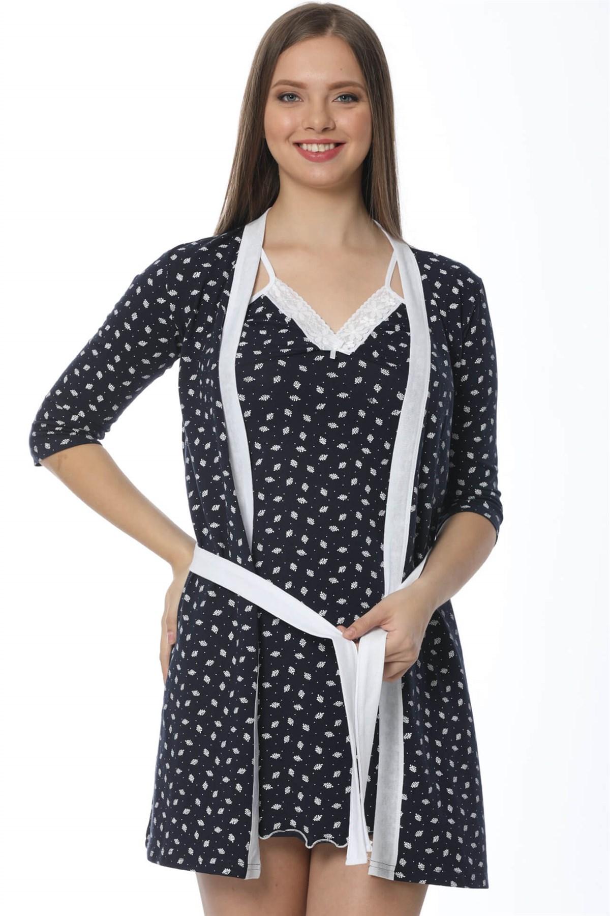 Moda Çizgi Bayan Laciver Beyaz Gecelik Sabahlık Takım 1109A