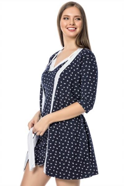 Moda Çizgi Bayan Laciver Beyaz Gecelik Sabahlık Takım 1109A - Thumbnail