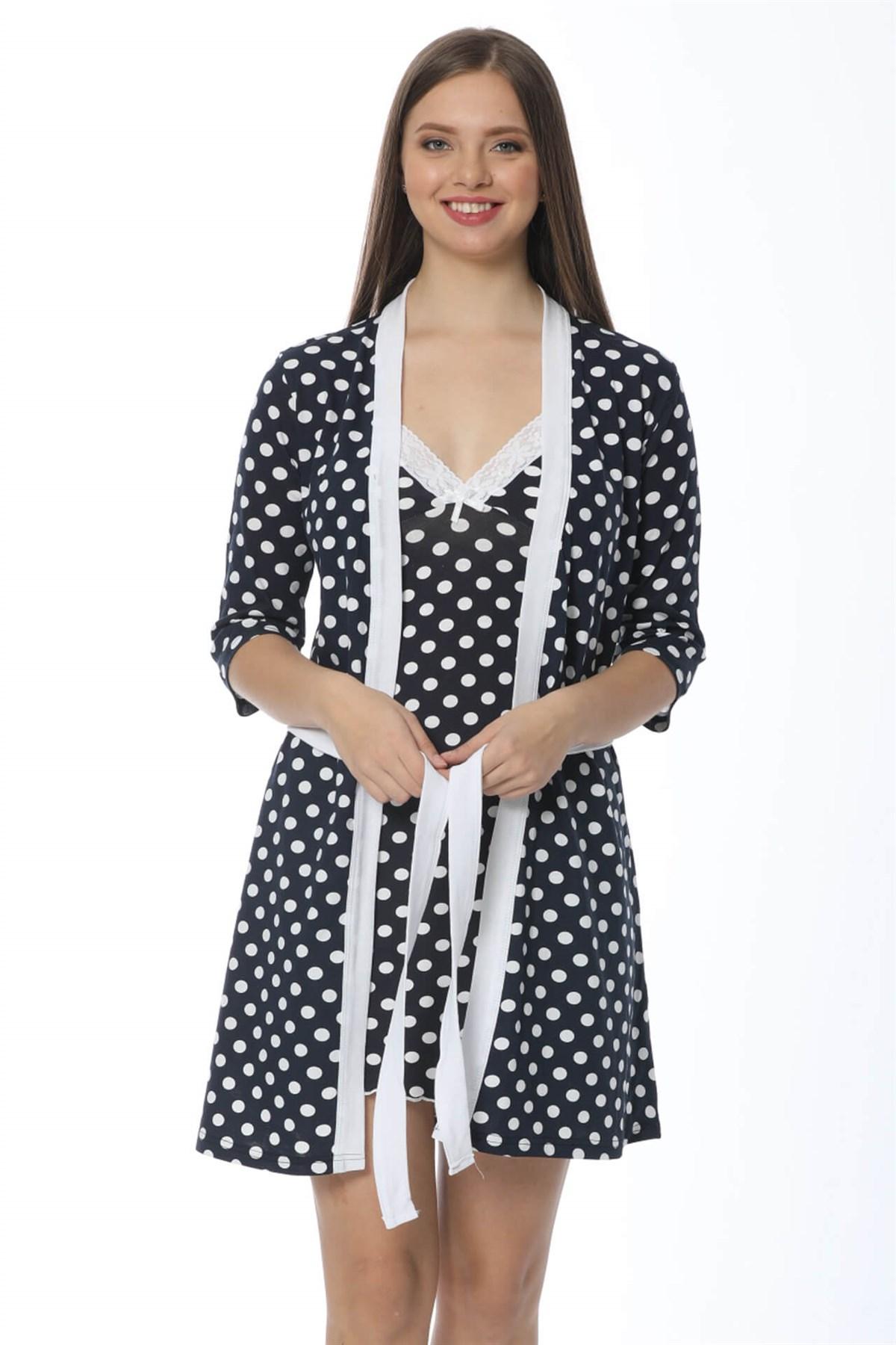 Moda Çizgi Bayan Lacivert Puantiyeli Gecelik Sabahlık Takım 1212
