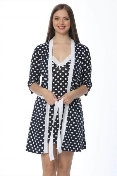 Moda Çizgi - Moda Çizgi Bayan Lacivert Puantiyeli Gecelik Sabahlık Takım 1212