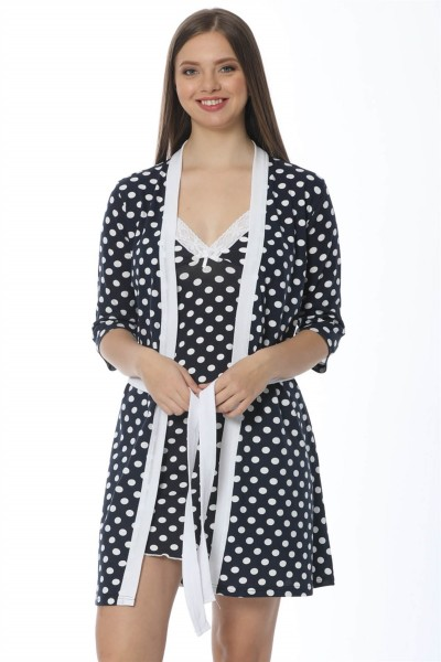 Moda Çizgi Bayan Lacivert Puantiyeli Gecelik Sabahlık Takım 1212 - Thumbnail
