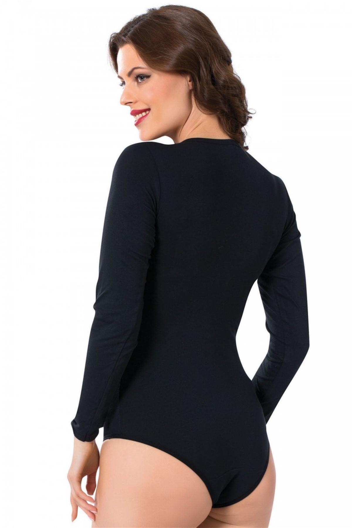 Moda Çizgi Bayan Uzun Kol Çıtçıtlı Body 244