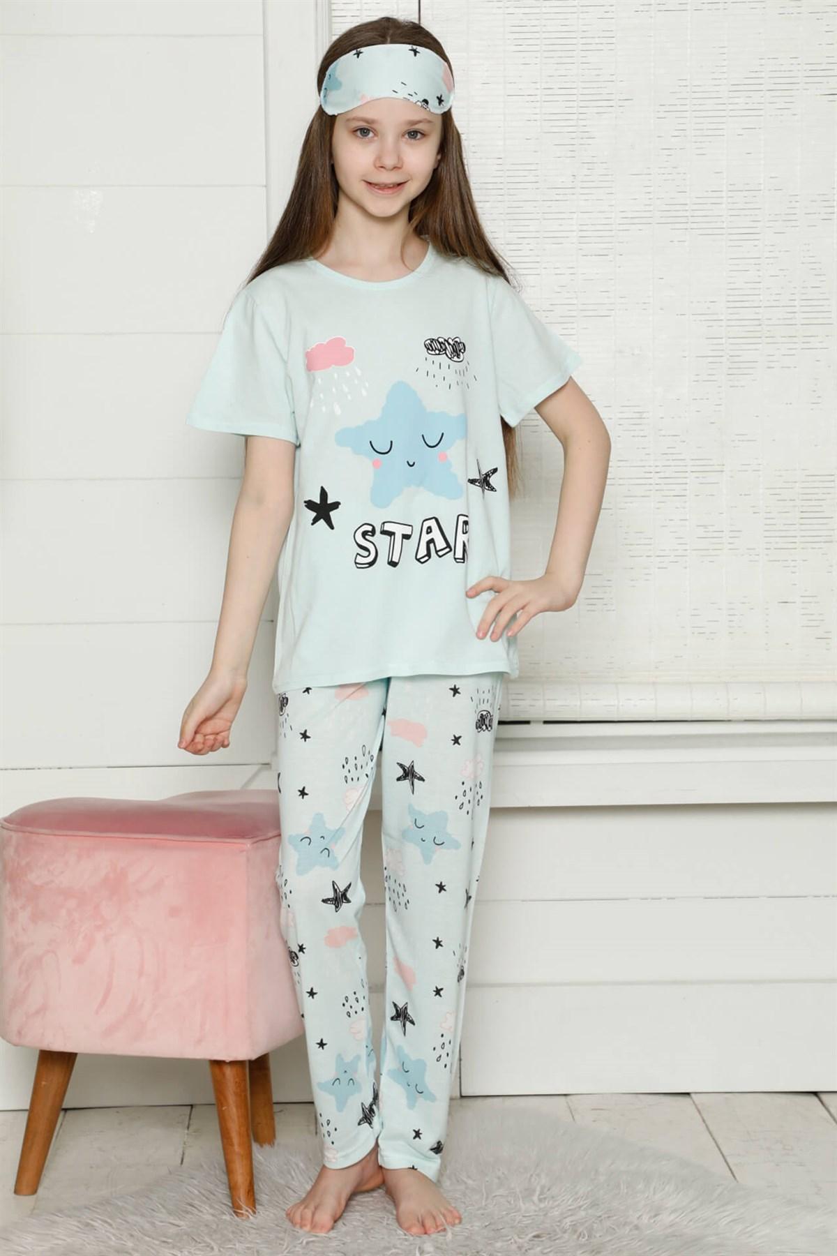 Moda Çizgi Çocuk Pamuk Kısa Kollu Pijama Takımı 4566