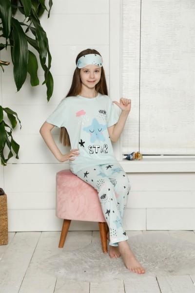 Moda Çizgi Çocuk Pamuk Kısa Kollu Pijama Takımı 4566 - Thumbnail