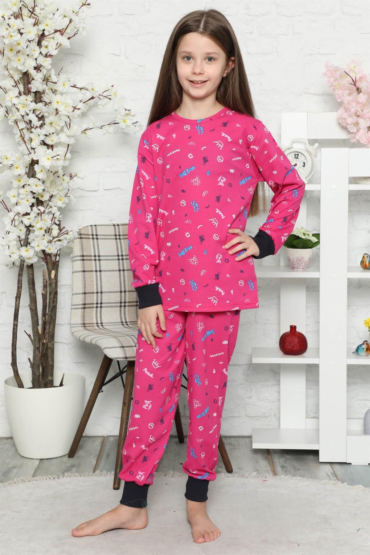 Moda Çizgi Çocuk Pamuk Uzun Kollu Pijama Takımı 4545