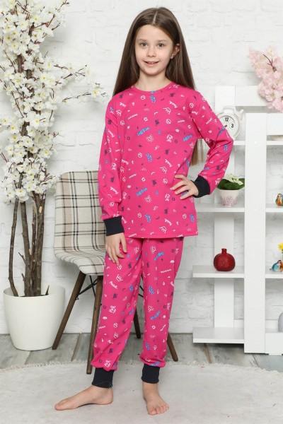 Moda Çizgi Çocuk Pamuk Uzun Kollu Pijama Takımı 4545 - Thumbnail
