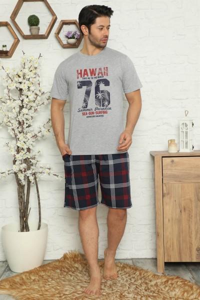 Moda Çizgi - Moda Çizgi Erkek %100 Pamuk Cepli Kapri Pijama Takımı 6735