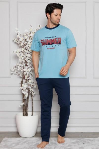 Moda Çizgi - Moda Çizgi Erkek %100 Pamuk Cepli Kısa Kollu Pijama Takımı 6744
