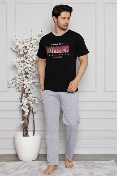 Moda Çizgi - Moda Çizgi Erkek %100 Pamuk Cepli Kısa Kollu Pijama Takımı 6745