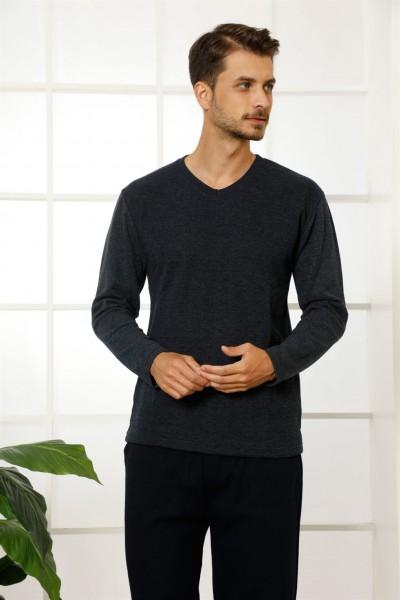 Moda Çizgi - Moda Çizgi Erkek %100 Pamuk Cepli Uzun Kollu Pijama Takımı 6763