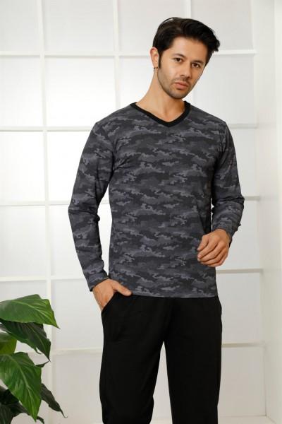 Moda Çizgi - Erkek %100 Pamuk Cepli Uzun Kollu Pijama Takımı 6766