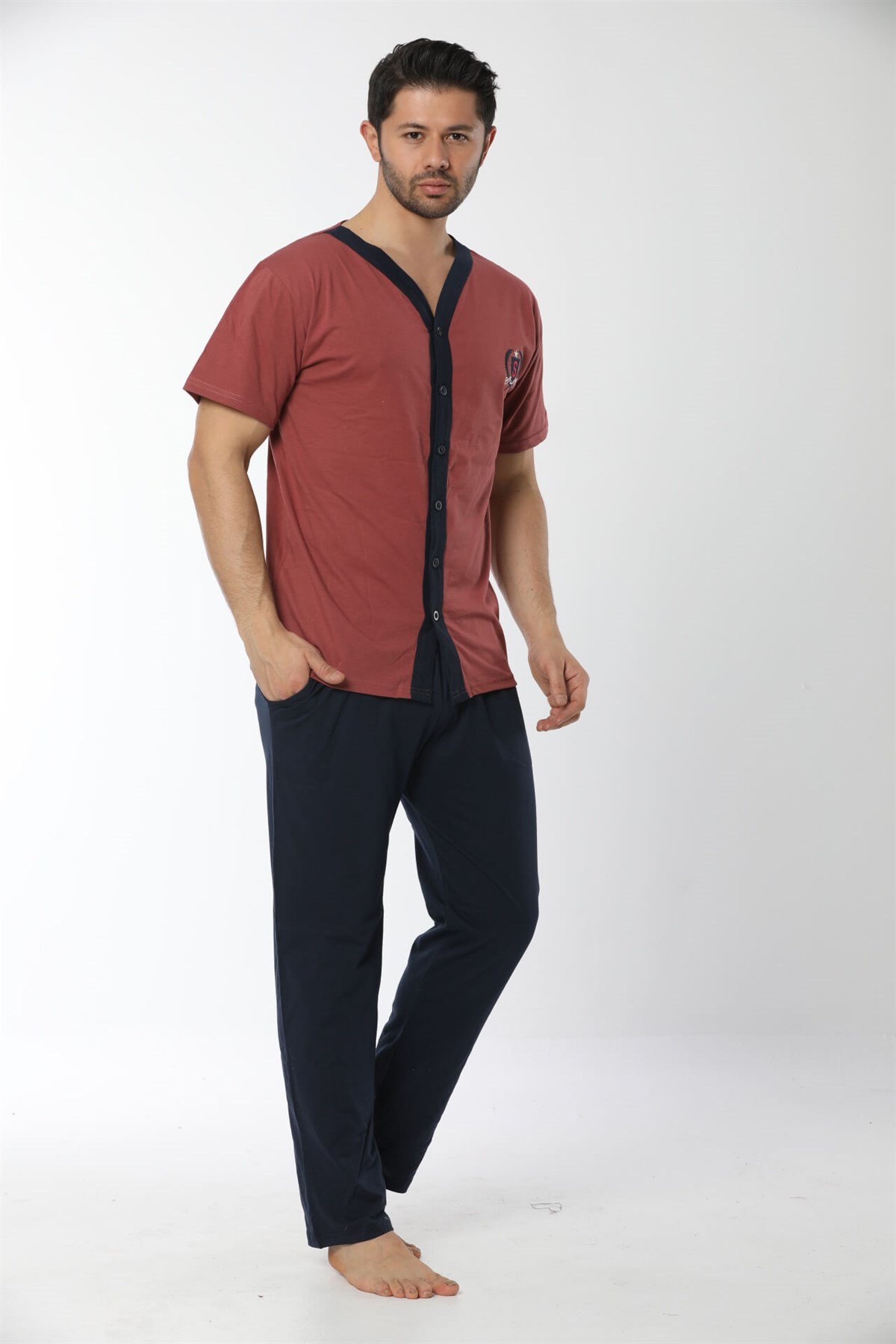 Moda Çizgi Erkek Kiremit Renk Önden Düğmeli Pijama Takım 6537
