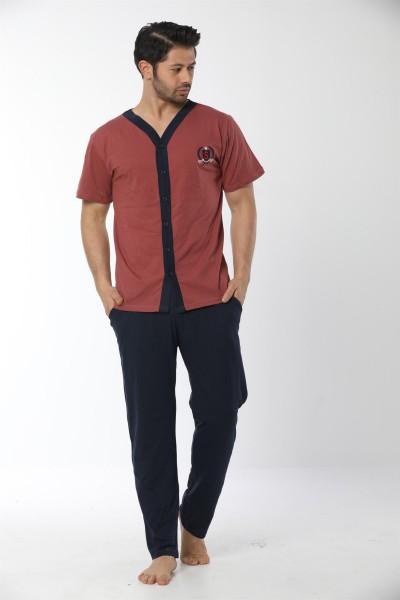 Moda Çizgi Erkek Kiremit Renk Önden Düğmeli Pijama Takım 6537 - Thumbnail