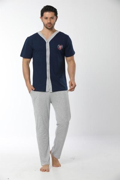 Moda Çizgi - Moda Çizgi Erkek Lacivert Önden Düğmeli Pijama Takım 6536