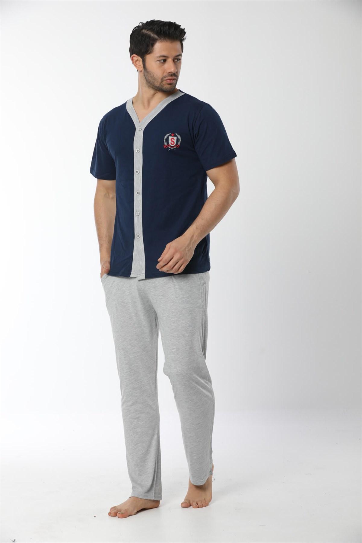 Moda Çizgi Erkek Lacivert Önden Düğmeli Pijama Takım 6536