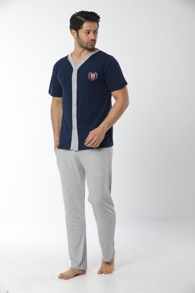Moda Çizgi Erkek Lacivert Önden Düğmeli Pijama Takım 6536 - Thumbnail