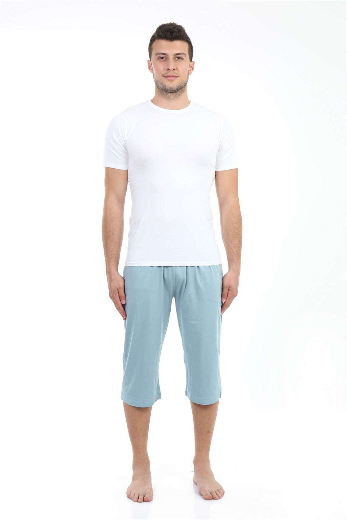 Moda Çizgi Erkek Pamuk Kapri 27194