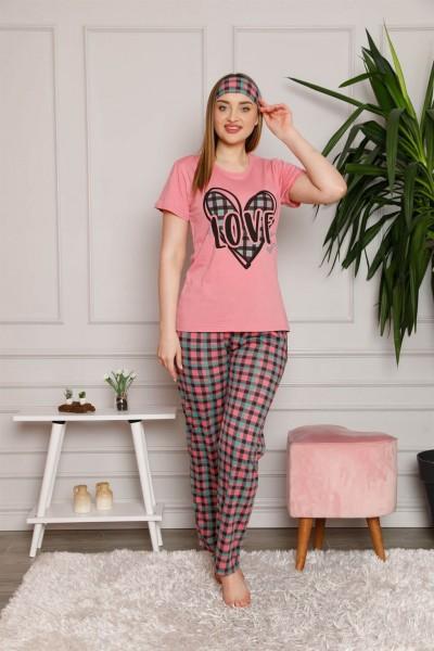 Moda Çizgi Kadın %100 Pamuk 3'lü Sabahlık Pijama Takım 1117 - Thumbnail