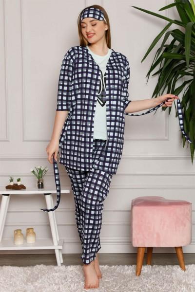 Moda Çizgi - Moda Çizgi Kadın %100 Pamuk 3'lü Sabahlık Pijama Takım 1118