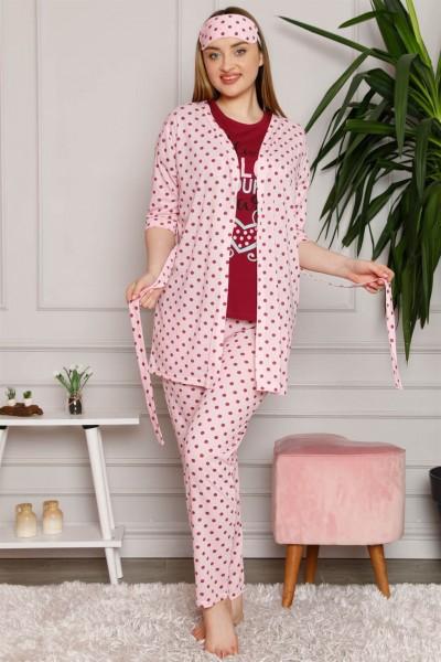 Moda Çizgi - Moda Çizgi Kadın %100 Pamuk 3'lü Sabahlık Pijama Takım 1119