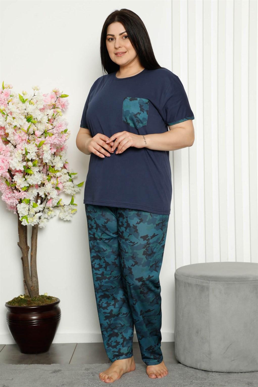 Moda Çizgi Kadın %100 Pamuk Cepli Kısa Kol Büyük Beden Pijama Takım 202106