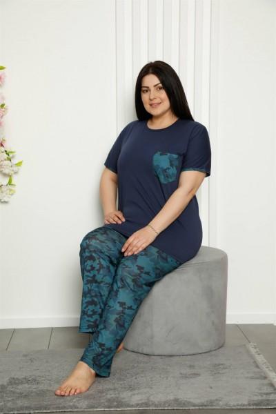 Moda Çizgi Kadın %100 Pamuk Cepli Kısa Kol Büyük Beden Pijama Takım 202106 - Thumbnail