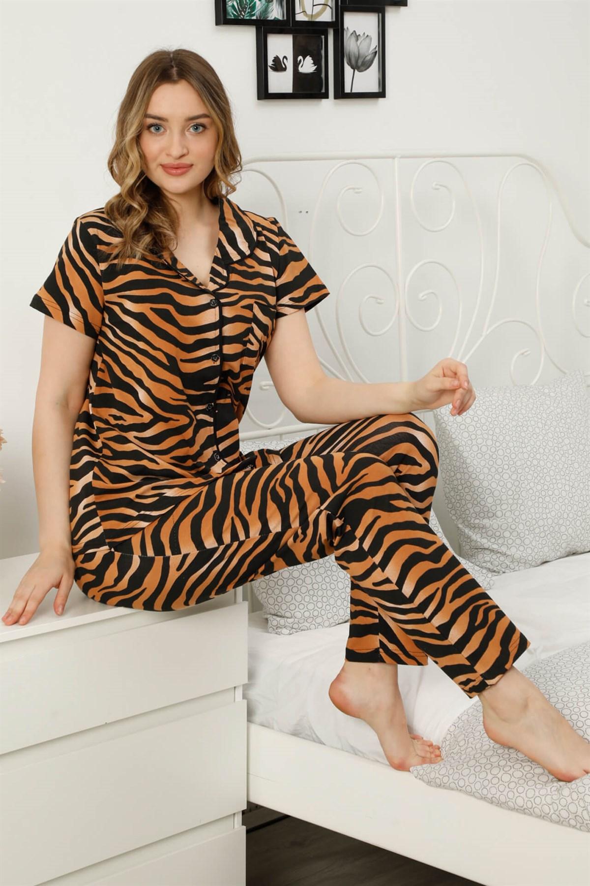 Moda Çizgi Kadın %100 Pamuk Önden Düğmeli Kısa Kol Pijama Takım 2815