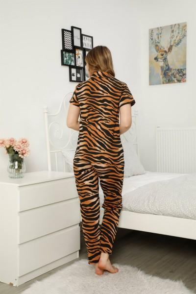 Moda Çizgi Kadın %100 Pamuk Önden Düğmeli Kısa Kol Pijama Takım 2815 - Thumbnail