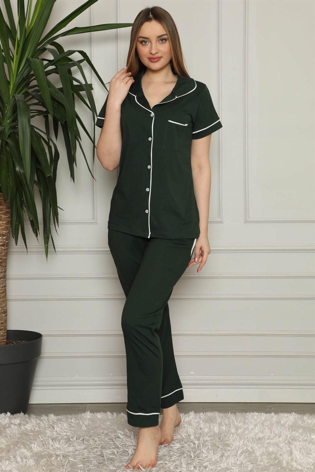 Moda Çizgi Kadın %100 Pamuk Önden Düğmeli Kısa Kol Pijama Takım 2823