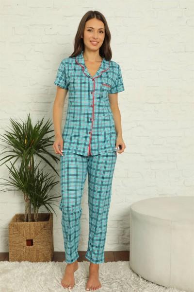 Moda Çizgi - Moda Çizgi Kadın %100 Pamuk Önden Düğmeli Kısa Kol Pijama Takım 2831