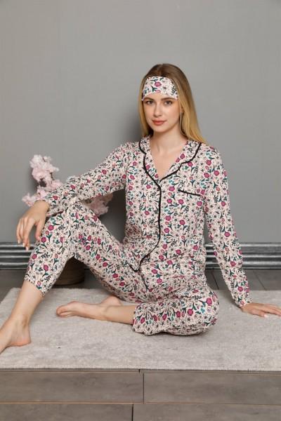 Moda Çizgi - Moda Çizgi Kadın %100 Pamuk Önden Düğmeli Uzun Kol Pijama Takım 2755