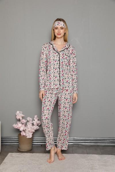 Moda Çizgi Kadın %100 Pamuk Önden Düğmeli Uzun Kol Pijama Takım 2755 - Thumbnail