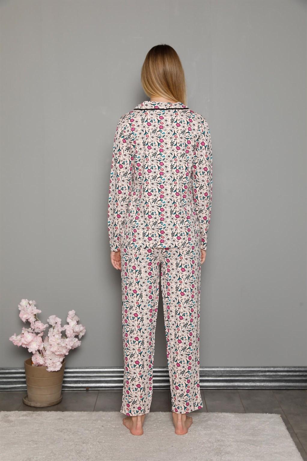 Moda Çizgi Kadın %100 Pamuk Önden Düğmeli Uzun Kol Pijama Takım 2755