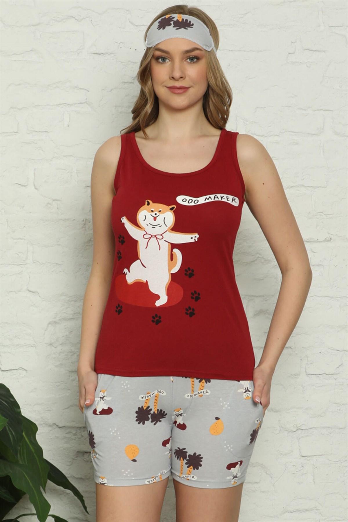 Moda Çizgi Kadın %100 Pamuk Penye Kalın Askılı Şortlu Pijama Takım 4324