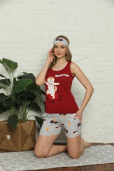 Moda Çizgi Kadın %100 Pamuk Penye Kalın Askılı Şortlu Pijama Takım 4324 - Thumbnail