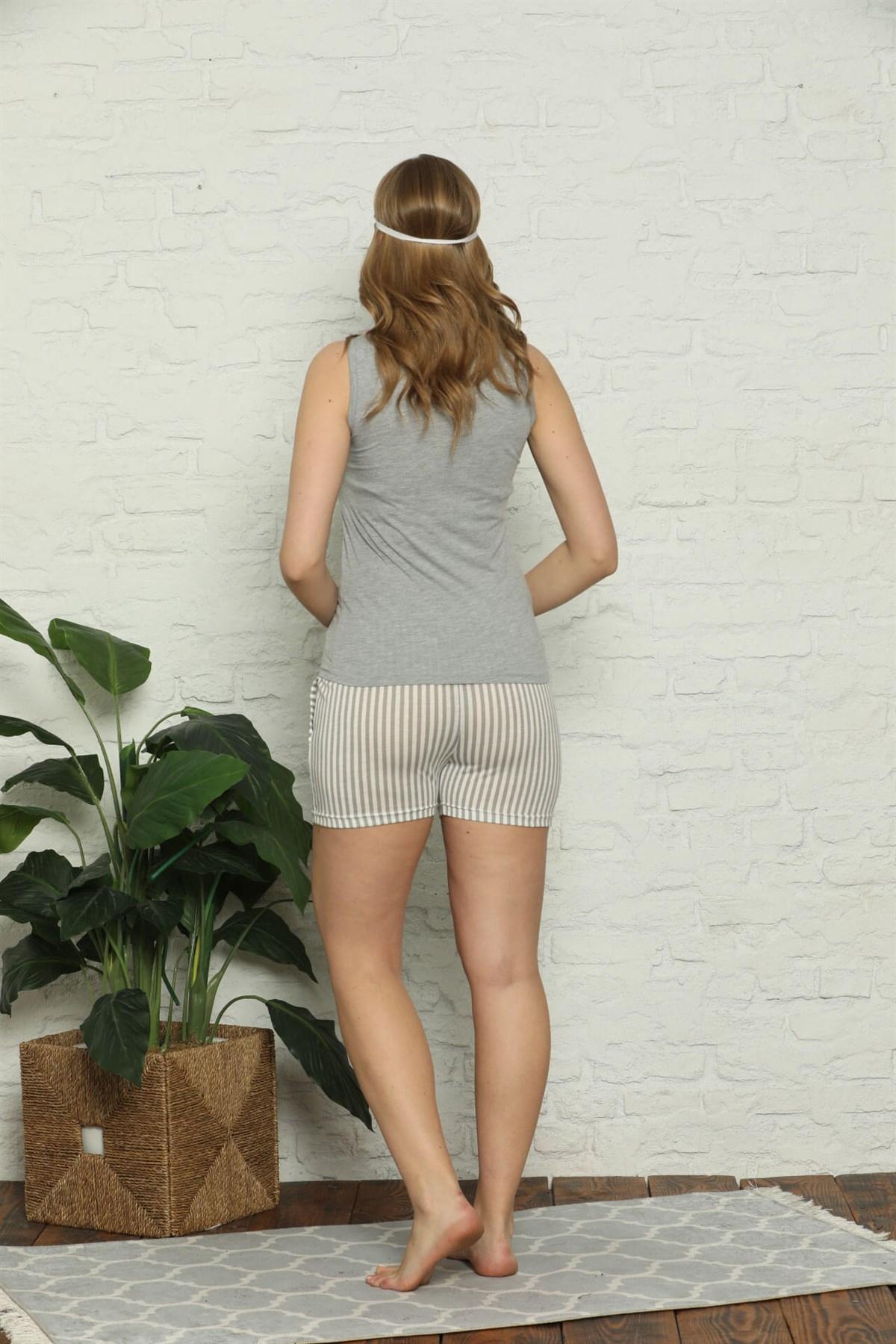 Moda Çizgi Kadın %100 Pamuk Penye Kalın Askılı Şortlu Pijama Takım 4325