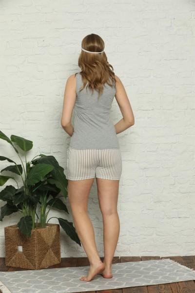 Moda Çizgi Kadın %100 Pamuk Penye Kalın Askılı Şortlu Pijama Takım 4325 - Thumbnail
