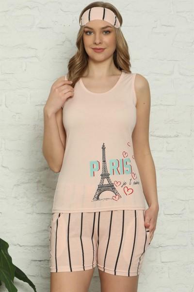 Moda Çizgi - Moda Çizgi Kadın %100 Pamuk Penye Kalın Askılı Şortlu Pijama Takım 4329