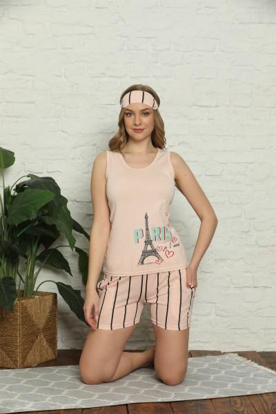 Moda Çizgi Kadın %100 Pamuk Penye Kalın Askılı Şortlu Pijama Takım 4329 - Thumbnail