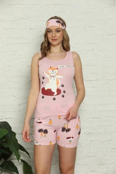Moda Çizgi - Moda Çizgi Kadın %100 Pamuk Penye Kalın Askılı Şortlu Pijama Takım 4334