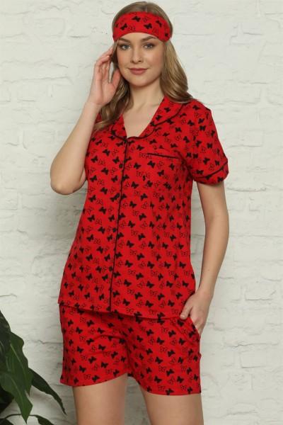 Moda Çizgi - Moda Çizgi Kadın %100 Pamuk Penye Kısa Kol Şortlu Pijama Takım 4315