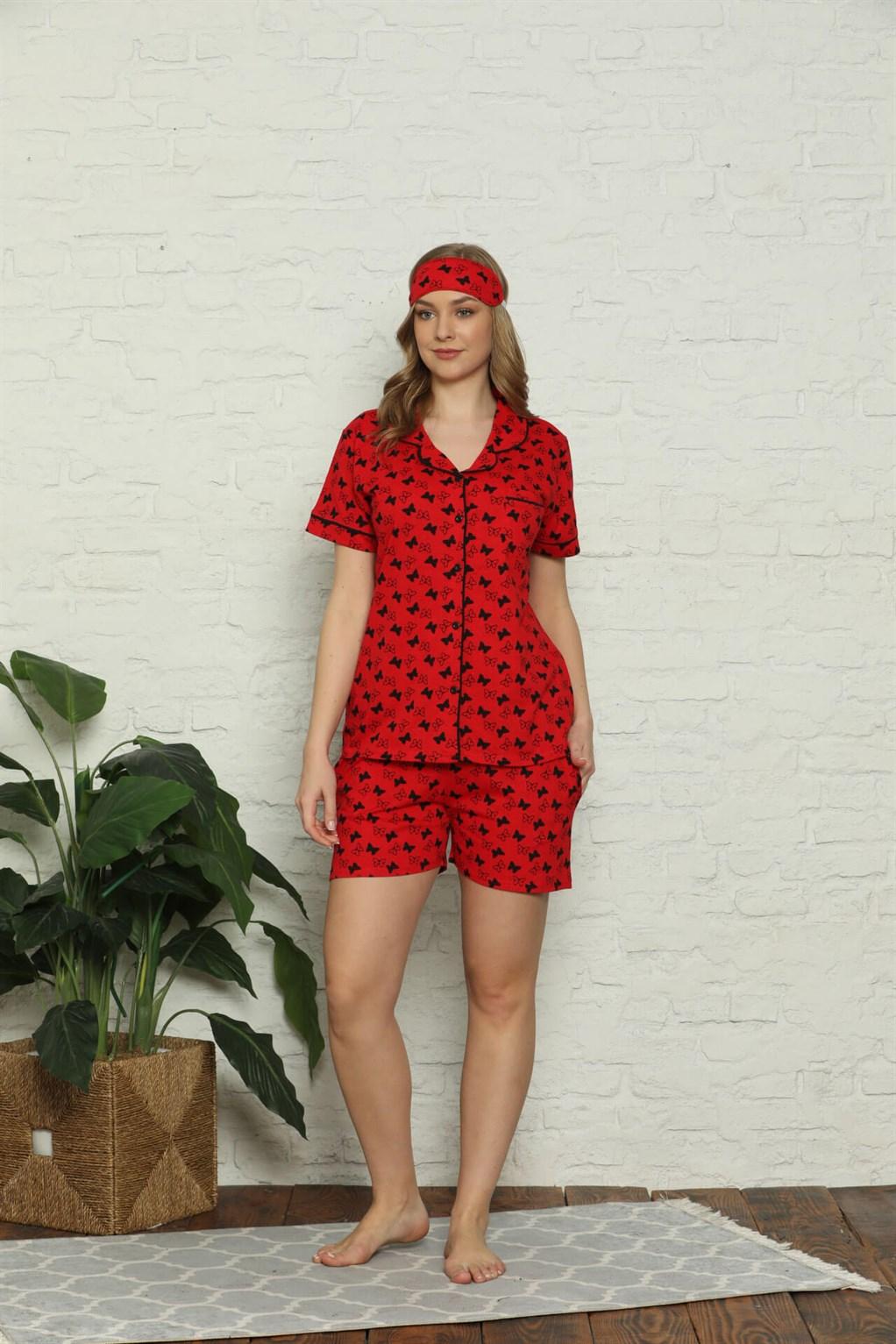 Moda Çizgi Kadın %100 Pamuk Penye Kısa Kol Şortlu Pijama Takım 4315