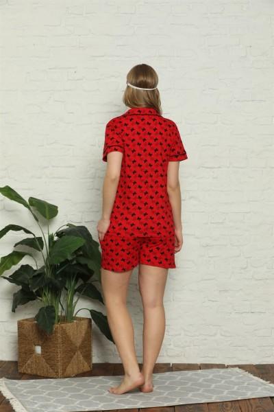 Moda Çizgi Kadın %100 Pamuk Penye Kısa Kol Şortlu Pijama Takım 4315 - Thumbnail